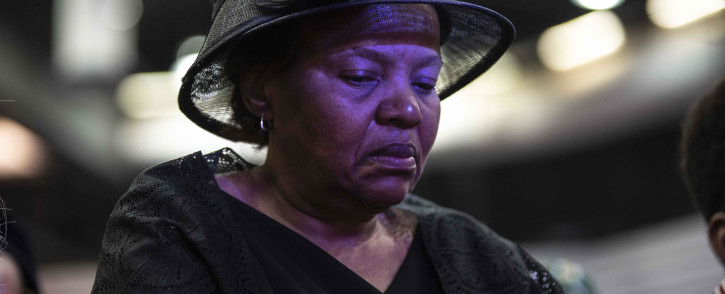 "Jabulani ""HHP"" Tsambo's mother at his funeral held at Mmabatho Convention Centre in the North West. Picture: Abigail Javier/EWN."