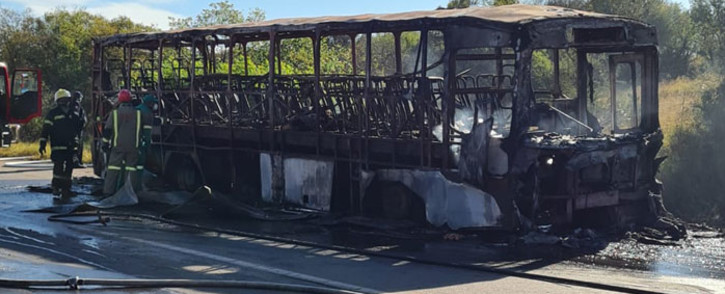 Six people died in a fire on a Putco bus on that was travelling from Tshwane to Tweefontein on 21 May 2021. Picture: @TMPDSafety/Twitter