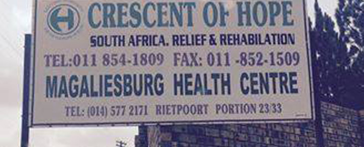 A board sign outside the Crescent of Hope Drug Rehabilitation Centre in Magaliesburg, Gauteng. Picture: Facebook.com.