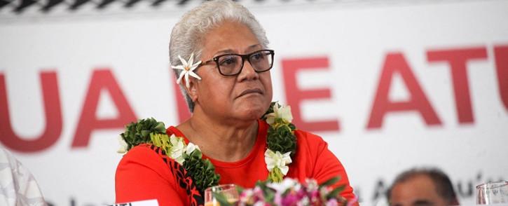 This undated handout photo received on April 18, 2021 from the Fa'atuatua I le Atua Samoa ua Tasi (FAST) political party shows party leader Fiame Naomi Mata'afa in Apia, the capital of Samoa. Handout / Fa'atuatua I le Atua Samoa ua Tasi (FAST) / AFP.