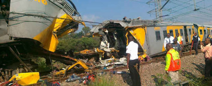 The scene where two trains collided in Atteridgeville on 31 January 2013, injuring over 300 people. Picture: Netcare 911