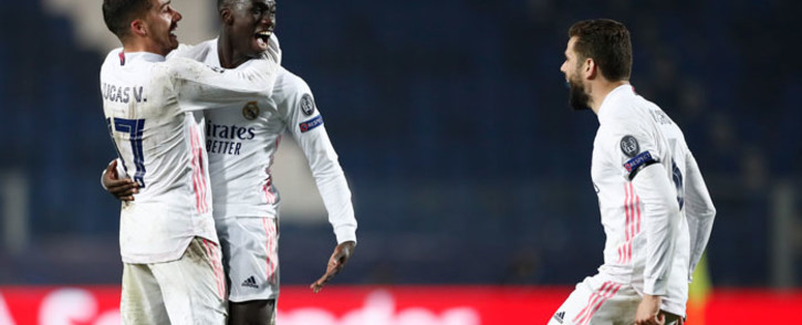 Real Madrid's Ferland Mendy celebrates his goal against Atalanta with teammates during their Uefa Champions League match on 24 February 2021. Picture: @realmadriden/Twitter
