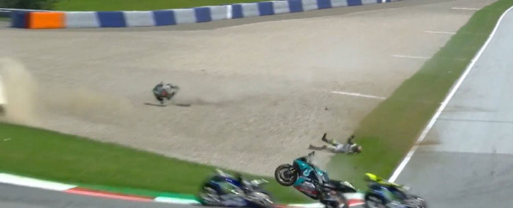 A screengrab of the crash involving Yamaha's Franco Morbidelli and Ducati's Johann Zarco during the MotoGP race at the Spielberg circuit in Austria on 16 August 2020. Picture: @MotoGP/Twitter