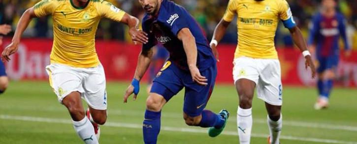 Barcelona's Luis Suarez in action against during their team's Nelson Mandela Centenary Celebrations match against Mamelodi Sundowns. Picture: Facebook.com.