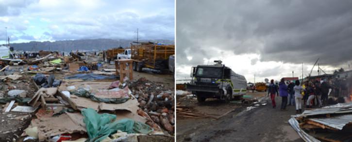 Nomzamo rubble after forced evictions on 4 June 2014. Picture: Renee de Villiers/EWN