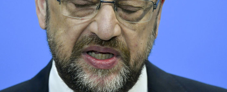 This file photo taken on 26 January 2018 shows the leader of the German Social Democrats (SPD) Martin Schulz speaking to media on his arrival for talks at the Christian Democratic Union (CDU) headquarters in Berlin. Picture: AFP