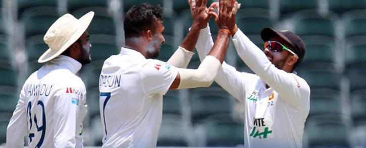 Sri Lankna cricket players celebrate taking wickets in a match against South Africa on 4 January 2021.. Picture: Twitter @OfficialSLC.