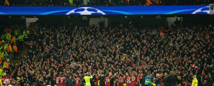Liverpool players celebrate with their fans at the Etihad Stadium after their famous second-leg victory over Manchester City in the Uefa Champions League on 10 April 2018. Picture: Facebook.