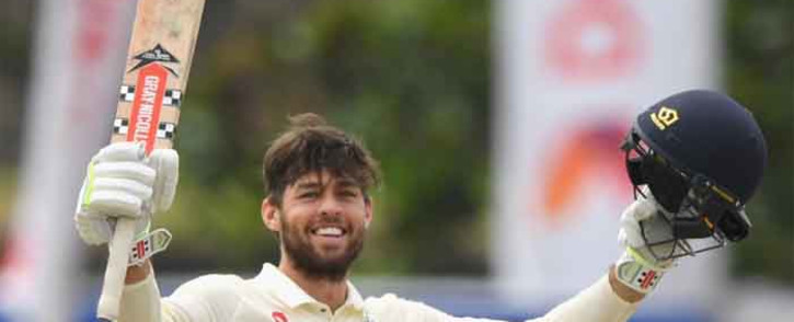England's Ben Foakes celebrates his first 50 in the first inning Test against Sri Lanka. Picture: @englandcricket/Twitter.