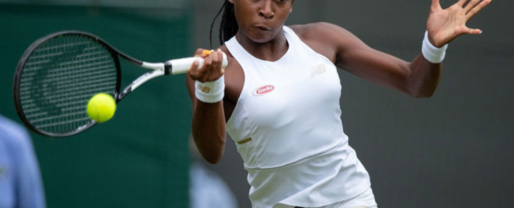 Cori Gauff hits a return during her first round match with Venus Williams at Wimbledon on 1 July 2019. Picture: @Wimbledon/Twitter