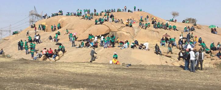 FILE: Miners sit at the 'koppie' in Marikana ahead of a programme to commemorate the Marikana massacre, on 16 August 2018. Picture: Pelane Phakgadi/Eyewitness News.