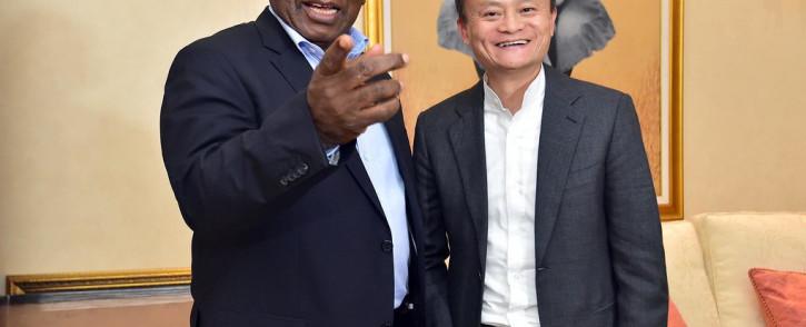 President Cyril Ramaphosa greets Chinese internet giant Jack Ma. Picture: @PresidencyZA/Twitter.