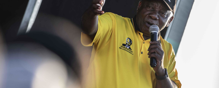 ANC President Cyril Ramaphosa speaking to the community of Seshego in Polokwane, Limpopo. Picture: Abigail Javier/EWN