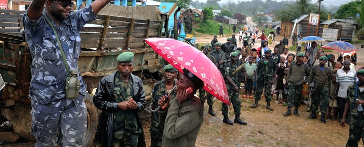 This picture made on November 24, 2011 shows leader of a faction of the Mai Mai militia group, Ntabo Ntaberi Sheka, wanted on an arrest warrant over charges of mass rape, campaigning for a seat ahead of the November 26 national elections in Walikale, North Kivu. Picture: AFP