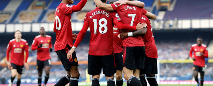 Manchester United striker Edinson Cavani celebrates scoring his team's third goal with teammates during the English Premier League football match between Everton and Manchester United at Goodison Park in Liverpool, north-west England on 7 November 2020. Picture: AFP