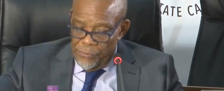 A screengrab of North West Premier Job Mokgoro at the state capture inquiry on 1 October 2020. Picture: SABC/YouTube