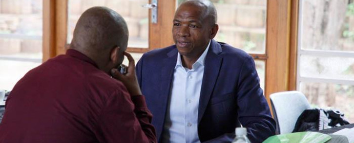 North West Premier Supra Mahumapelo in the meeting venue where the ANC met amid calls for him to be removed from office on 18 April 2018. Picture: Ihsaan Haffajee/EWN