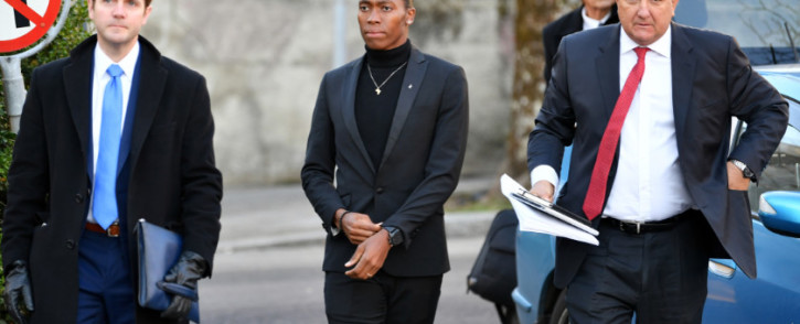 South African 800 metres Olympic champion Caster Semenya (C) and her lawyer Gregory Nott (R) arrive for a landmark hearing at the Court of Arbitration (CAS) in Lausanne on 18 February 2019. Picture: AFP.
