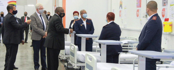 President Cyril Ramaphosa is are guided by Western Cape Premier Alan Winde on a tour of the province's Hospital of Hope on 5 June 2020; an 850-bed COVID-19 facility, which has been established at the Cape Town International Convention Centre. Picture: GCIS.