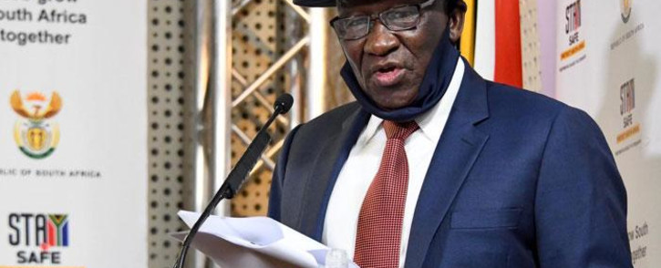 Police Minister Bheki Cele releases the first quarter crime statistics for 2020/2021 at a media briefing on 14 August 2020. Picture: GCIS