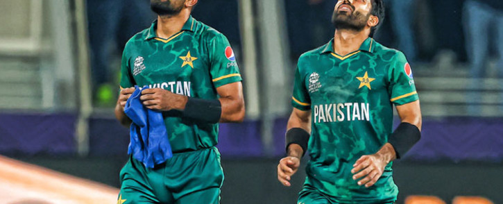 Pakistan's captain Babar Azam and Mohammad Rizwan after defeating India by 10 wickets in their T20 World Cup match on 24 October 2020. Picture: @T20WorldCup/Twitter