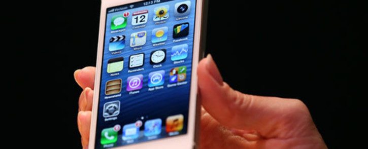 FILE: The iPhone 5 is displayed during an Apple special event at the Yerba Buena Center for the Arts on 12 September 2012 in San Francisco, California. Picture: AFP.