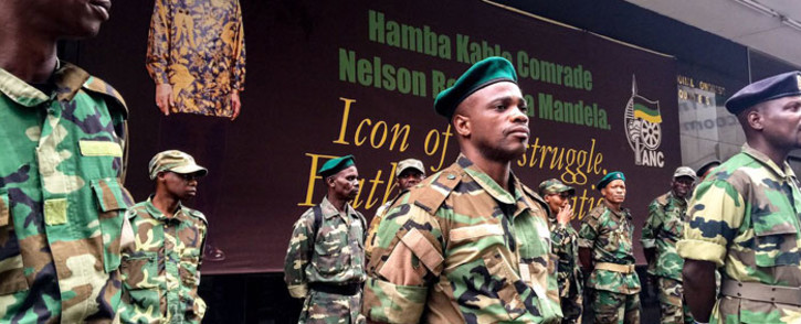 FILE: MKMVA members guard the ANC's Luthuli House headquarters in Johannesburg. Picture: Clement Manyathela/EWN