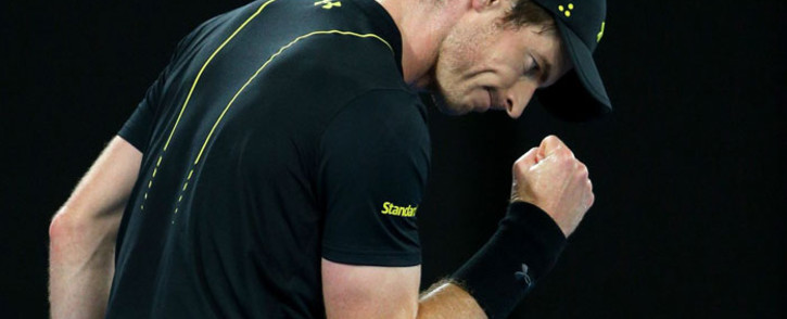 Andy Murray celebrates a point. Picture: @AustralianOpen/Twitter