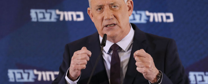 Leader of Israel's Blue and White electoral alliance Benny Gantz delivers a statement in the central Israeli city of Ramat Gan, on 7 March 2020. Picture: AFP