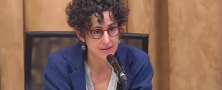 A screengrab of evidence leader Advocate Carol Steinberg questions a witness at the Nugent Commission of Inquiry in Pretoria. Picture: YouTube.