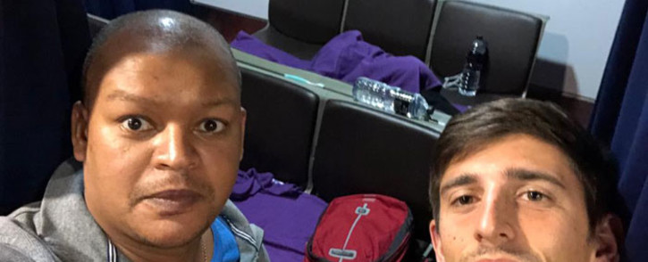 Allister Nunn (left) and Allan Huysamen (right) are two South Africans who are stranded at Malaysia's Kuala Lumpur International Airport after the country went into lockdown to stop COVID-19 from spreading. Picture: Supplied