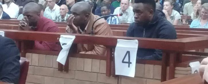 Convicted rhino poachers Forget Ndlovu, Jabulani Ndlovu and Sikhumbuzo Ndlovu in the Grahamstown High Court for sentencing. Picture: SAPS/Twitter.