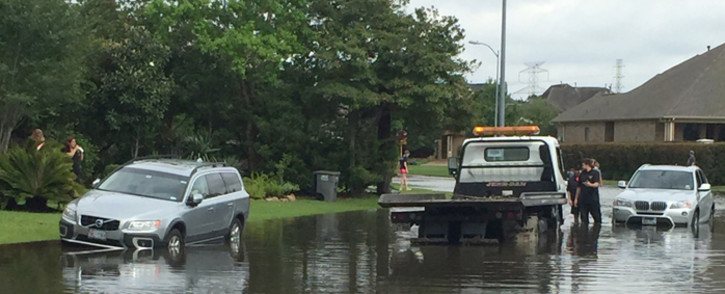 A view of flooded streets in the Kelliwood Park neighborhood of Katy, Texas. Picture: AFP.