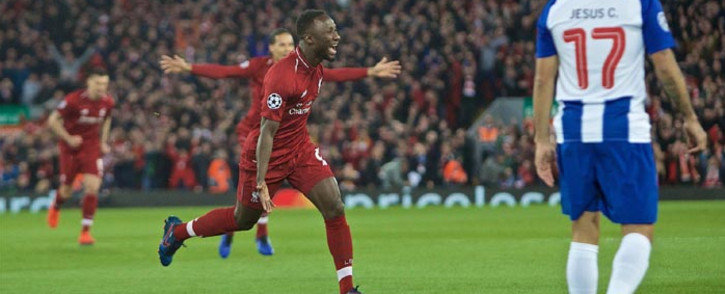 Liverpool's Naby Keita celebrates scoring their first goal against Porto during their Champions League clash on 9 April. Picture: @LFC/Twitter.