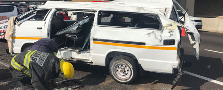 FILE: The scene of a taxi accident on the N1/M1S in Buccleuch interchange, Johannesburg on 18 September 2017. Picture: @ER24EMS