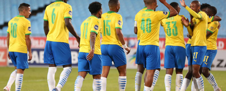 Mamelodi Sundowns players celebrate a goal against SupeSport United on 26 May 2021. Picture: @OfficialPSL/Twitter