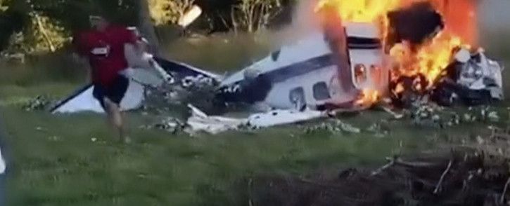 A screenrgab of the burning plane. Picture: CNN