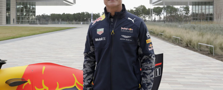 Former F1 race driver David Coulthard with the RB7 during a show run at the campus of Red Bull Racing team partners ExxonMobil on January 26, 2017 in Spring, Texas. Picture: AFP