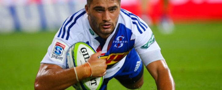 889c31c4b67 Stormers right wing Damian de Allende scores during the Super 15 rugby  union match at Suncorp