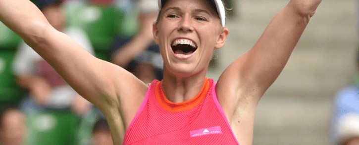 Caroline Wozniacki of Denmark celebrates her victory against Anastasia Pavlyuchenkova of Russia during the women's singles final at the Pan Pacific Open tennis tournament in Tokyo on 24 September 2017. Picture: AFP.