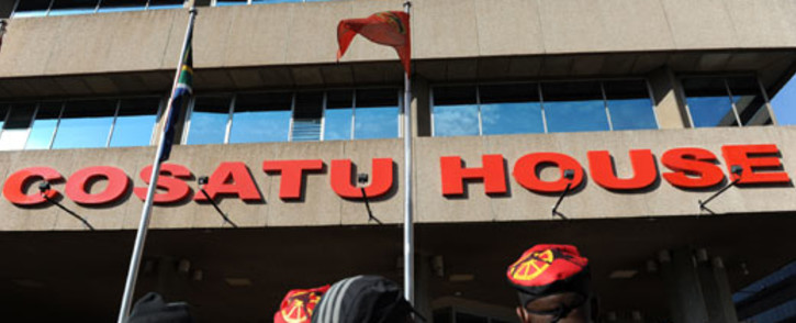 A group of protesters gather outside Cosatu headquarters in Johannesburg on Friday, 24 May 2013 after the march against e-tolls was cancelled. Picture: Sapa.