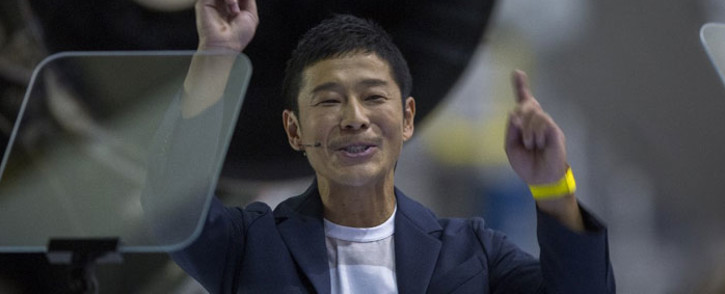 FILE: Japanese billionaire Yusaku Maezawa reacts during the announcement by Elon Musk to be the first private passenger who will fly around the Moon aboard the SpaceX BFR launch vehicle, at the SpaceX headquarters and rocket factory on 17 September 2018 in Hawthorne, California. Picture: AFP