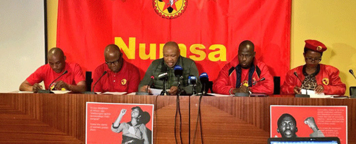 FILE: Numsa's Irvin Jim (C) at a media briefing on 24 April 2018. Picture: EWN