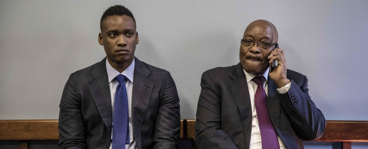 Duduzane Zuma (left) in court with his father Jacob Zuma as all charges against him by the NPA are dropped at the Commercial Crimes Court on 24 January 2019. Picture: Thomas Holder/EWN