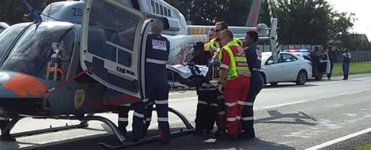 A security guard on Thursday, 13 February 2020 was left critically injured following a cash-in-transit heist on the N3 Highway near the Leondale Road turnoff in Spruitview. Picture: @ER24EMS/Twitter