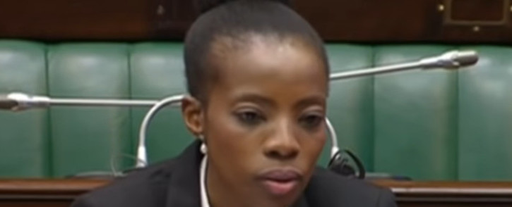 A screengrab of advocate Kholeka Gcaleka during her interview in Parliament on 13 November 2019 for the deputy Public Protector position.