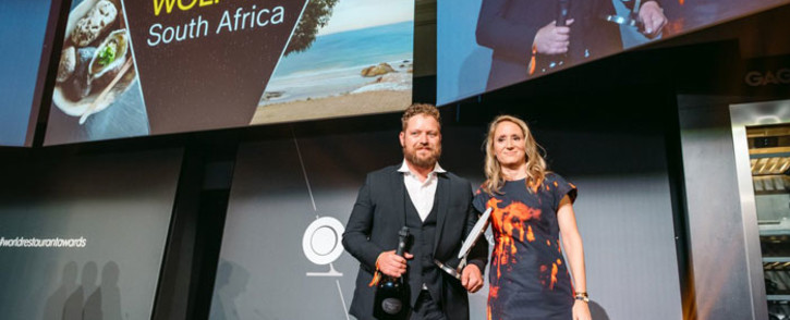 Kobus van der Merwe (left) receives his World Restaurant Awards prize in Paris on 18 February 2019. Picture: @worldrestawards/Twitter
