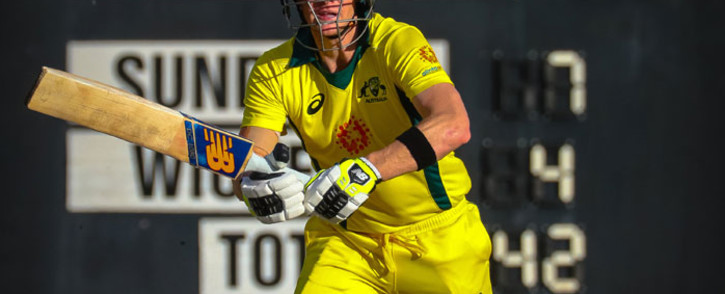 FILE: FILE: Australia's Steve Smith plays a shot during a World Cup cricket warm-up match against New Zealand in Brisbane on 10 May 2019. Picture: AFP