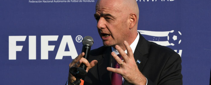 FILE: Fifa president Gianni Infantino (R) speaks during the inauguration of the Fenafuth Children's Stadium in Tegucigalpa, Honduras, on 19 November 2019. Picture: AFP