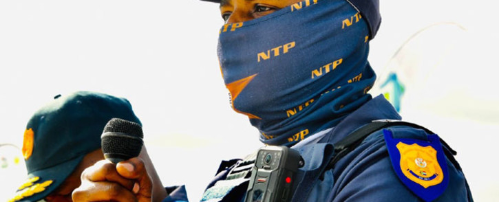 A North West traffic official wears a body camera at the launch of the Easter road safety campaign launch at the Bapong Weighbridge on 29 March 2021. Picture: @TrafficRTMC/Twitter